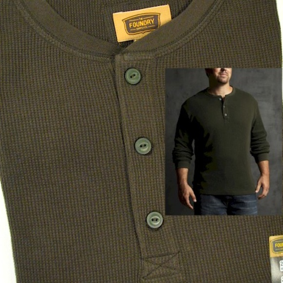638fcfffe4be0 Olive Green thermal henley shirt 3XL NWT. NWT. jcpenney